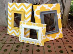 Fabric Covered Picture Frames Set of 3 Yellow by TheRedWoodBarn
