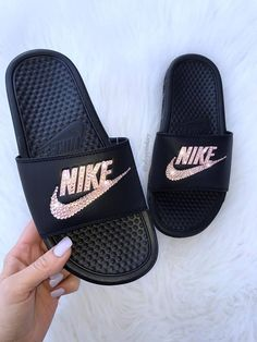d27a2a8c186f Rose Gold Swarovski Nike Benassi Slide Sandals customized with Swarovski  Crystals