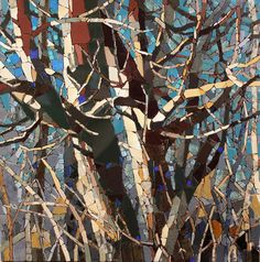 "ceramic mosaic on board 24""x24"" - Rd 6N Manitoba Maples in Bright Sun - Sharon Loeppky"