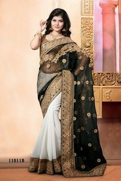 Indian black and cream border work fancy net pallu georgette partywear rajasthani saree with blouse piece