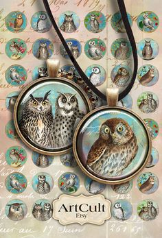 OWLS - Digital Collage Sheet 1 inch size Printable circle Images for glass or resin pendants bezel cabs bottle caps cabochons magnets