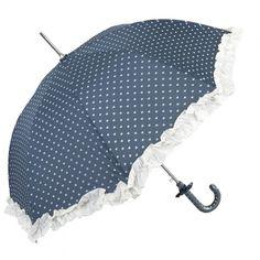 Blauwe vintage paraplu met witte hartjes. De paraplu heeft een nostalgisch randje en zelfs hartjes en een strikje op het handvat! Doorsnede ...