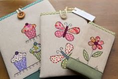 Embroidered Gadget cases by Stitch Galore Freehand Machine Embroidery, Free Motion Embroidery, Embroidery Applique, Fabric Cards, Fabric Boxes, Sewing Crafts, Sewing Projects, Patchwork Bags, Patch Quilt