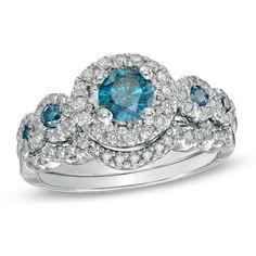 1-1/8 CT. T.W. Enhanced Blue and White Diamond Five Stone Frame Bridal Set in 14K White Gold