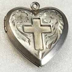 """ad:"" Antique Vintage Sterling Silver Heart Locket Pendant"
