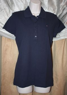 Woman's Size M Tommy Hilfiger Polo Navy Blue Short Sleeve 5 Button Placket NEW | eBay