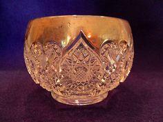 Antique EAPG Pattern Glass HORSESHOE MEDALLION FINGER Open Sugar? BOWL Gold Trim