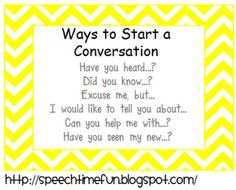 Speech Time Fun: Pragmatic Skills Series: Topic Initiation: Ways to Start A Conversation Freebie!