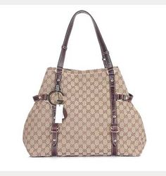 632bc521ad9 Gucci New Charlotte Large GG Fabric Tote 247393 Coffee
