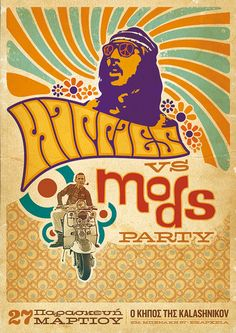 Hippies Vs Mods Party By Sébastien Nikolaou, Via Behance. But Which Side To  Choose.