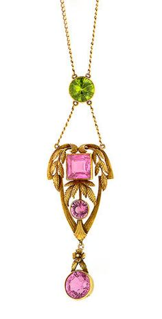 Art Nouveau Pink Tourmaline & Peridot Lavalier Necklace  fashioned in gold.