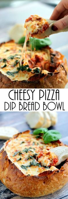 Cheesy Pizza Dip Bread Bowl - the cheesiest, most delicious 'dip' you'll ever eat!