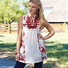 Another top to buy when I win the lottery...Red Rose Tunic from King Ranch Saddle Shop, $120.00