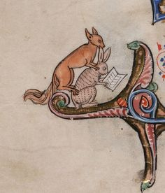 Don't you hate it when someone chews your ear while you're trying to read?    Beinecke Rare Book and Manuscript Library, MS 229, detail of f. 133v. Arthurian Romances [1) Le livre de Lancelot du Lac, part III. 2) La queste del Saint Graal. 3) La mort au Roy Artus.]. France, c.1275-1300.