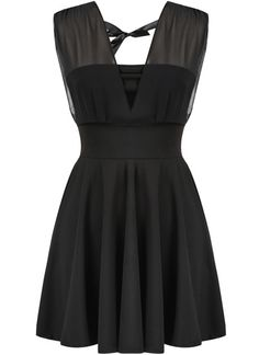 Black Deep V Neck Sleeveless Pleated Dress