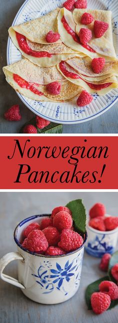 A Norwegian pancake recipe straight from Sweet Paul's grandmother's recipe book! We call them Swedish Pancakes here in the Upper Peninsula of Michigan, but they look the same--yummy especially with peaches! Swedish Pancakes, Norwegian Food, Pancakes And Waffles, What's For Breakfast, Breakfast Items, Breakfast Bowls, Breakfast Recipes, Swedish Cuisine, Bon Appetit