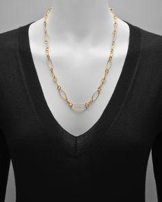 18k Gold Elongated Oval & Circular Link Necklace | Betteridge