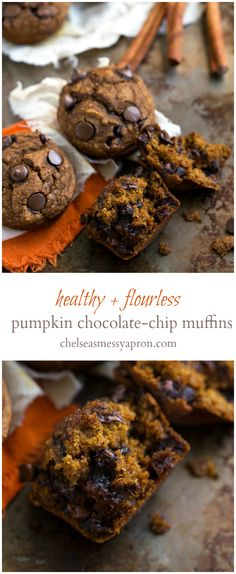 No white flour, butter, or oil in these muffins! So healthy AND delicious! pumpkin chocolate chip muffins