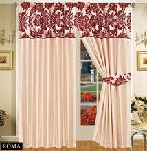 Half Flock with Plain Design Fully Lined Ready Made Pencil Pleat Curtains - Beige with Red - RV Your Price: £19.99 Featuring a top panel of a gorgeous half flock design against a soft ivory backing, our lined drapes offer a grand, regal quality associated with the flock era, perfect for adding effortless elegance to your interior.