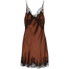 Carine Gilson Lace-trimmed silk-satin chemise ($468) ❤ liked on Polyvore featuring intimates, chemises, dresses, lingerie, short dress, chocolate, lace trim chemise, chemise lingerie, carine gilson and lingerie chemise
