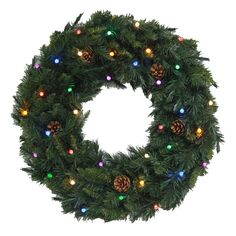Pre-Lit 30-in Canadianwreath Spruce Indoor/Outdoor Artificial Christmas Wreath with 35-Count LED Multi-Function Lights