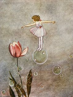 Vintage book illustration notecard Sylvie in her fairy frock floating on the great bubble Ida Rentoul Outhwaite 1922 4 inches Art And Illustration, Vintage Fairies, Vintage Art, Vintage Paintings, Fairy Paintings, Vintage Library, Vintage Drawing, Vintage Books, Pretty Art