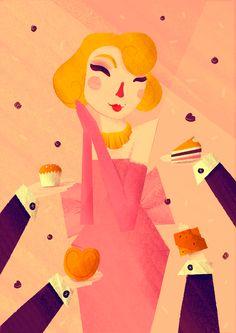 """""""Sweet Marilyn"""" by Fabiola Correas. Propuesta para el III Certamen de Ilustración Dulce de la Pastelería Tolosana.  #marilyn #sweet #croissant #illustration #poster #artprint"""