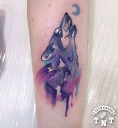Dripping watercolor wolf tattoo by Anastasia