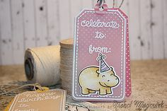 Lawn Fawn - Birthday Tags, Tag, You're It Lawn Cuts, Cloudy Lawn Trimmings cord, Let's Polka 6x6 paper, Year Four, So Much to Say (party hat) _ sweet birthday tag by Nichol for Lawn Fawn Design Team, via Flickr