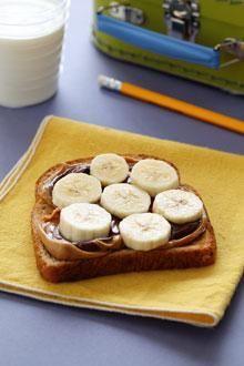 Peanut Butter, banana & Nutella on toast