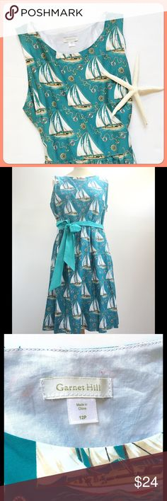 Nautical Boat Print Summer Dress by Garnet Hill NWOT. Super cute. Cotton. Fully lined with side zip and pretty sash belt included. Excellent condition. Never worn. Comes from a smoke- and pet-free house. Bundle for additional savings! Garnet Hill Dresses
