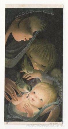 FERRANDIZ TARJETA FELICITACION NAVIDAD ESCRITA - Foto 1 Vintage Christmas Cards, Christmas Art, Catholic Art, Blessed Mother, Precious Moments, Big Eyes, Childhood Memories, Art Prints, Illustration