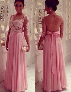 Elegant Scoop Appliques Long Sleeves Pink Prom Dress Evening Gowns