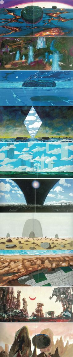 Concept art for the stargate sequence in 2001 A Space Odyssey. These are from the book The Making of Stanley Kubrick's 2001 A Space Odyssey by Piers Bizony. An amazing book but an absolute but pain to read and scan because of its vertical 'monolith' shape. It would've been better presented in landscape format. Sadly the book doesnt credit these concept illustrations but it may be Roy Carnon who did some production artwork, it may have been production designer Tony Masters or even special…