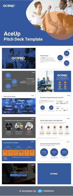 "AceUp is a platform that makes professional coaching more accessible to people, in order to -as they mention on their website- ""close the gap between where they are and where they want to be"". They provide individualized training, adapted to the user's goals, and offer growth metrics to keep them motivated. This powerful idea obtained millions of dollars in funding with this pitch deck Slidebean redesigned and which you can download for free."