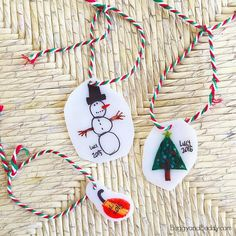 Shrink Film Ornament Craft for Kids   Make these adorable Christmas tree ornaments with the kids this holiday season!