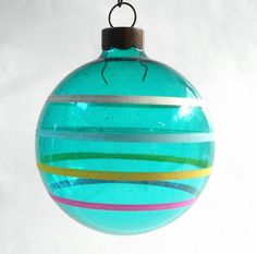 LOT OF 4 Vintage Christmas Ornaments Turquoise Blue Glass & Hand Painted Stripes