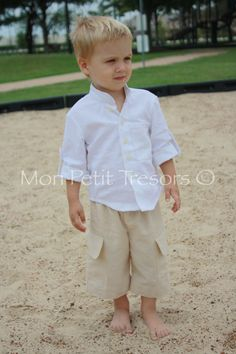 Boys Linen Shirt and Shorts Set - Sizes 7 to 14 years - Ring Bearer Outfit for Beach Wedding - Boy Beach Family Photo Set