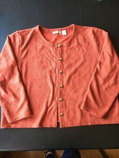 6a5562d9f73c Details about Orvis Womens Cardigan Sweater XL Rust Orange Buttons Cotton  Fleece Lined