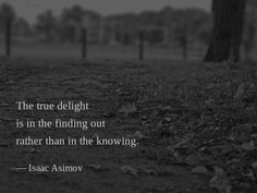The true delight is in the finding out rather than in the knowing. — Isaac Asimov