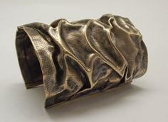 3 Inch Wide Crushed Brass Cuff Bracelet / Sale Price. $185.00, via Etsy.