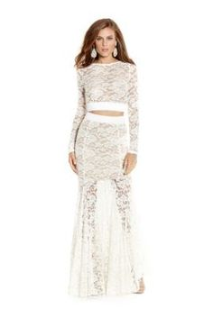 White Sheer Val Two-Piece Lace Dress | GUESS by Marciano $280