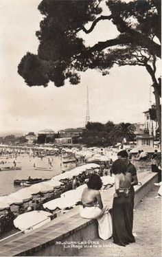 Juan les Pins, La Plage vue de la Pinede (circa 1930) Nice France, South Of France, Monte Carlo, Cannes, Tender Is The Night, Juan Les Pins, Antibes, French Riviera, Back In The Day