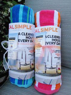 Last day of school, summer gift for teacher. Beach towel, magazine & sunscreen - what a great idea!
