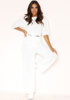 bccee0b8cce3d2 Lisa White Knit Ribbed Tie Co-ord Set