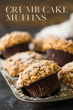 Crumb Cake Muffins These are a HUGE family favorite Moist tender sour cream coffee cake with plenty of cinnamony streusel topping Muffin Tin Recipes, Cupcake Recipes, Baking Recipes, Dessert Recipes, Scone Recipes, Healthy Recipes, Breakfast Cake, Breakfast Dishes, Breakfast Muffins