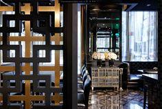 Trump International Hotel Lobby Draperies, flooring, black, gold