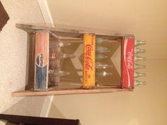 Vintage soda crate DIY ladder shelves