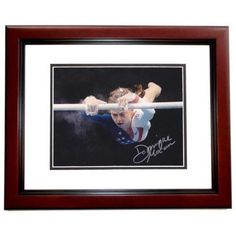 8 x 10 in. Dominique Moceanu Autographed Olympic Gymnastics Photo, Mahogany Custom Frame, As Shown