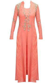 Coral pink applique work jacket kurta set by Ridhima Bhasin. Shop now: www.perniaspopups....- the overall design, though I think the shoulder bling is more fitting for the men.